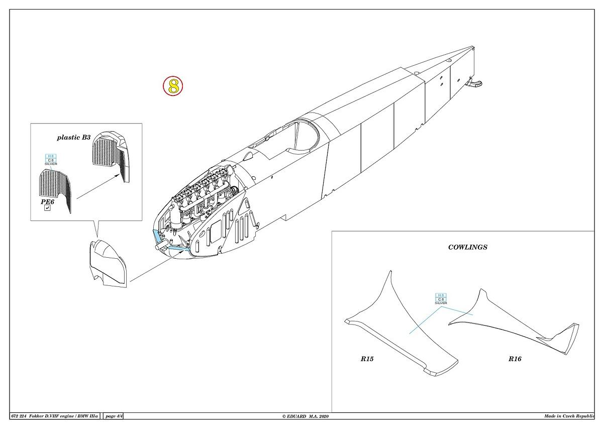 Eduard-672224-Fokker-D.VII-BMW-Motor-13 Motoren für die Fokker D.VII in 1:72 von Eduard # 672223 und 224