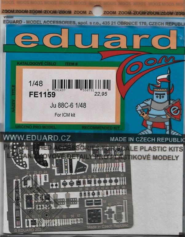 Eduard-FE-1159-1169-Ju-88-von-ICM-2 Ätzteile und Masken von Eduard für die Ju88C-6 von ICM in 1:48 #FE1159, FE1160, EX759 und EX760