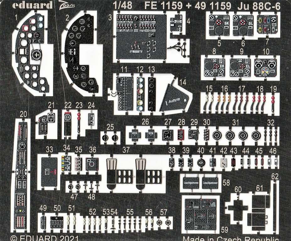 Eduard-FE-1159-1169-Ju-88-von-ICM-3 Ätzteile und Masken von Eduard für die Ju88C-6 von ICM in 1:48 #FE1159, FE1160, EX759 und EX760