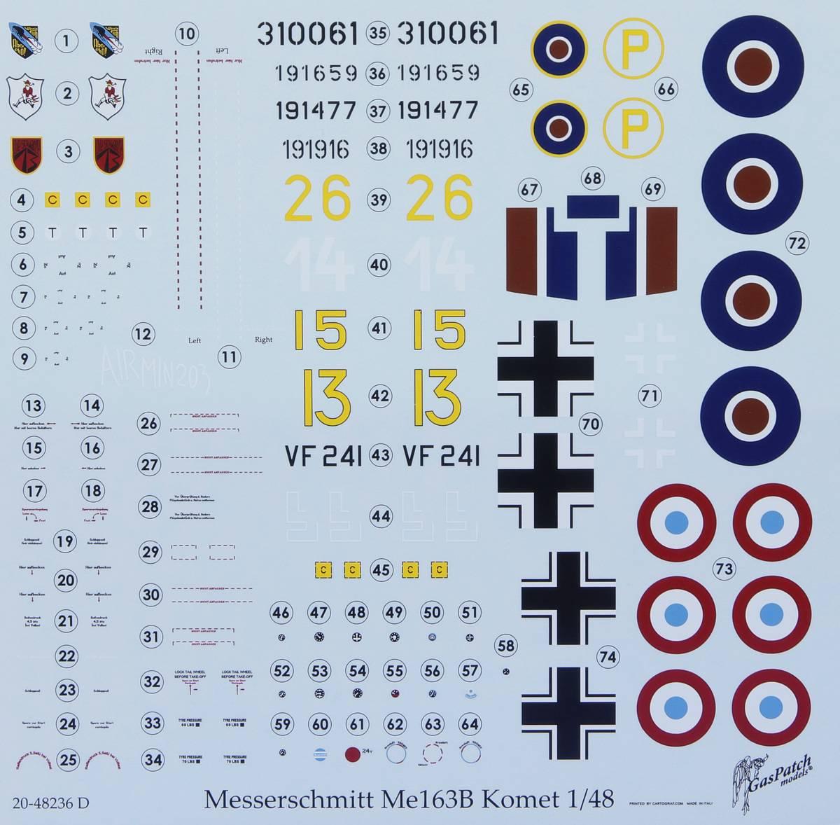 GasPatch-48236-Me163-Komet-50 Messerschmitt Me 163B Komet in 1:48 von GasPatch