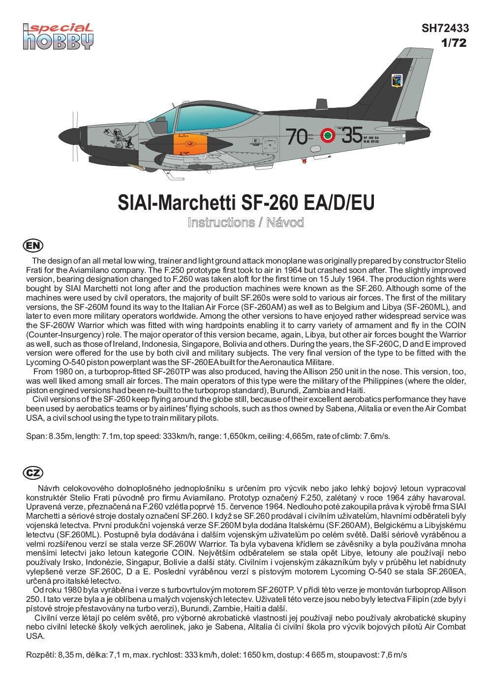 Special-Hobby-72433-SIAI-Marchetti-SF-260-Late-bulged-Canopy-Bauanleitung-1 SIAI Marchetti SF 260 Late Bulged Canopy in 1:72 Special Hobby # SH 72433