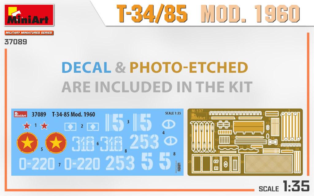 37089_decal_PE Ankündigung: T-34/85 MOD. 1960 1:35 Miniart (#37089)