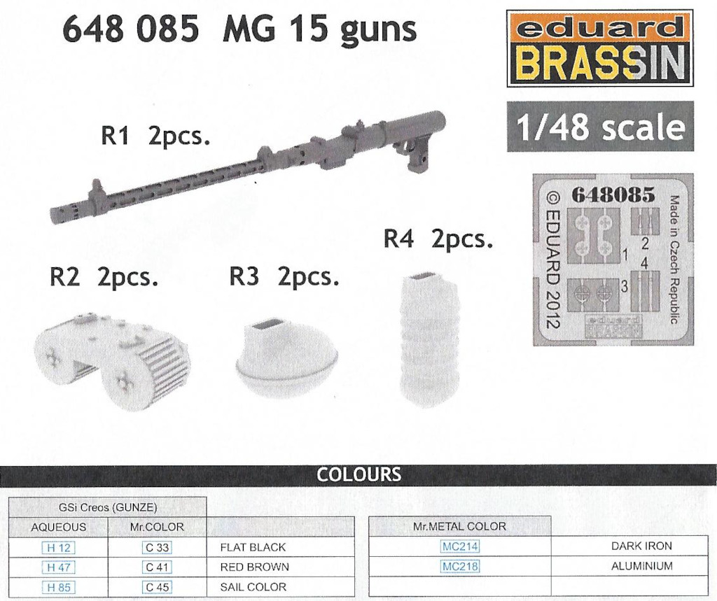 Anleitung2 MG 15 guns (2pcs) 1:48 Eduard (#648 085)