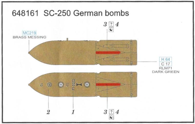 Decalanleitung SC-250 German Bombs 1:48 Eduard (#648 161)