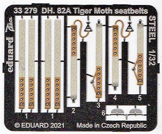 Eduard-33279-DH.82A-Tiger-Moth-seatbelts-STEEL-3 Eduard-Zubehör für die Tiger Moth in 1:32 von ICM