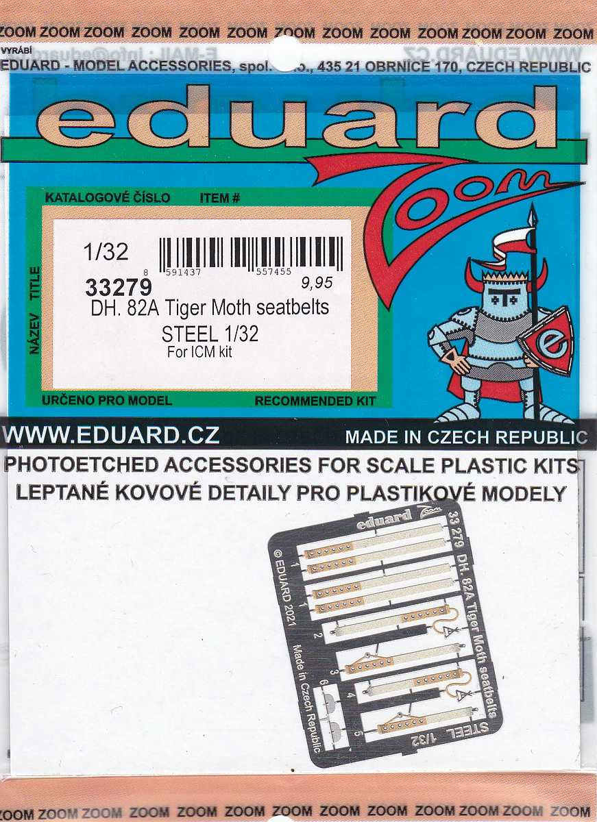 Eduard-33279-DH.82A-Tiger-Moth-seatbelts-STEEL Eduard-Zubehör für die Tiger Moth in 1:32 von ICM