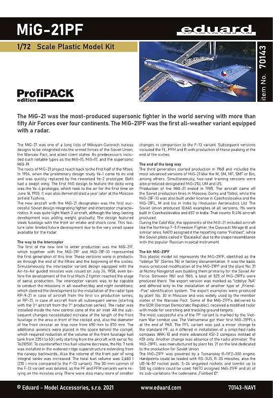 Eduard-70143-MiG-21-PF-ProfiPack-18 MiG-21PF in 1:72 von Eduard #70143
