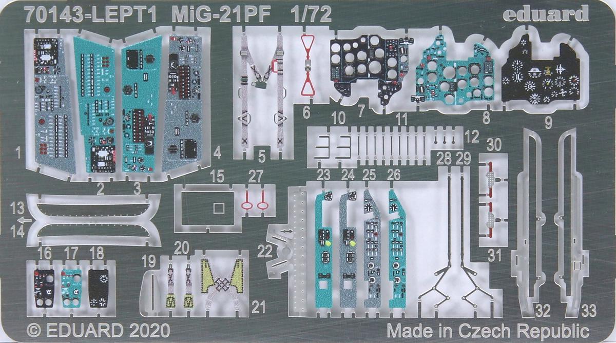 Eduard-70143-MiG-21-PF-ProfiPack-44 MiG-21PF in 1:72 von Eduard #70143