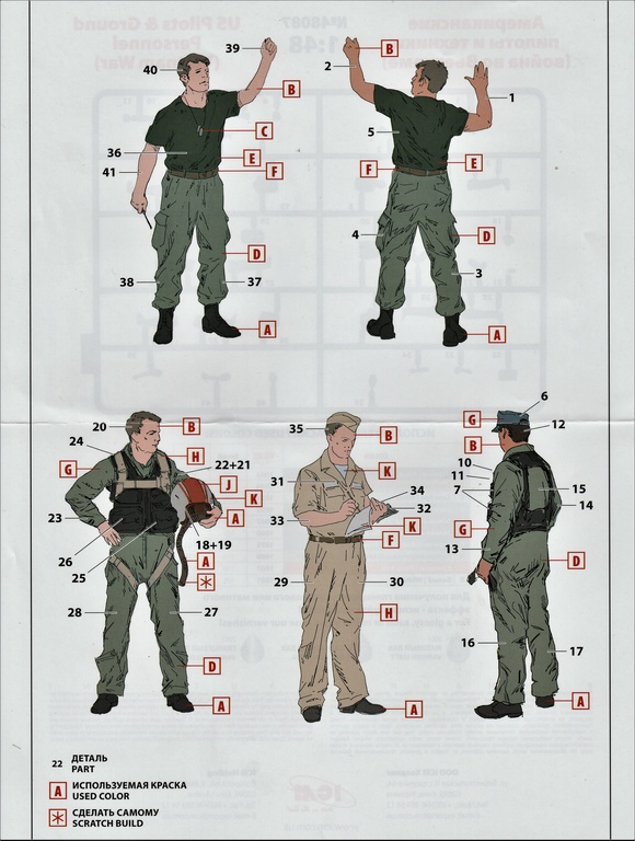 ICM-48087-US-Pilots-Vietnam-19 US Pilots and Ground Personnel Vietnam in 1:48 von ICM #48087