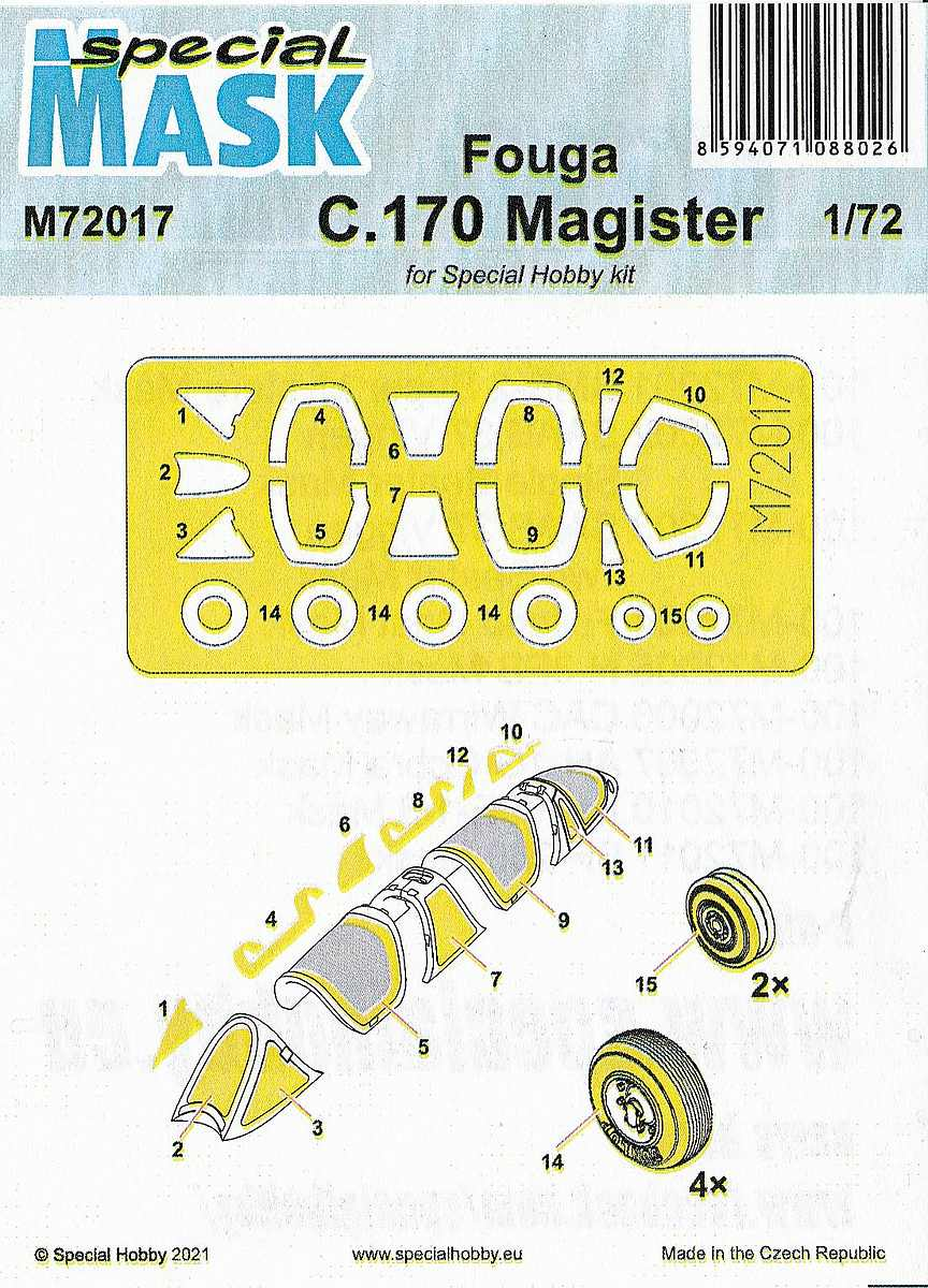 Special-Hobby-M72017-Fouga-C.170-Magister-Masken-2 Masken für die Fouga Magister in 1:72 von Special Hobby # M72017