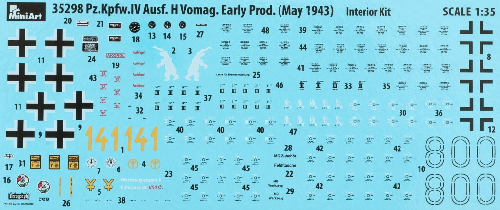 Decals-1 Pz.Kpfw.IV Ausf. H Vomag Early Prod. May 1943 1:35 Miniart (#35298)