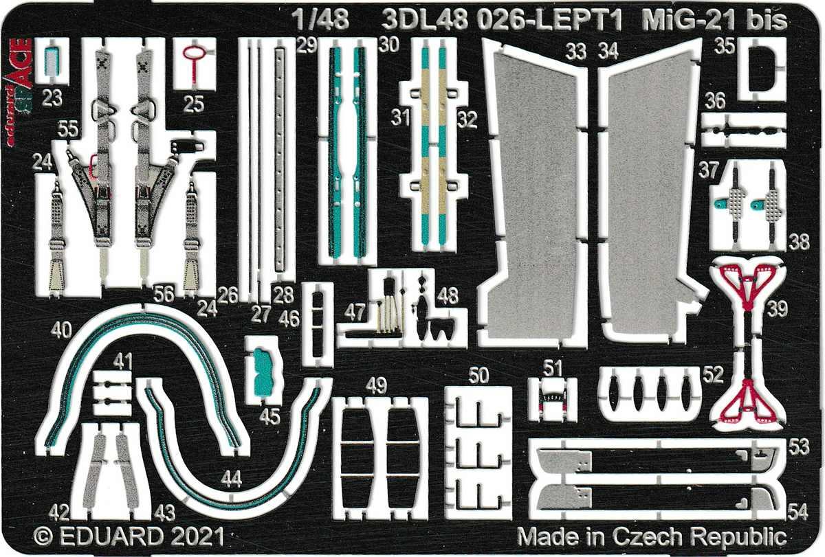 Eduard-3DL48026-MiG-21-BIS-SPACE-3 3D-Detailset für die MiG-21 Bis in 1:48 von Eduard # 3DL48026
