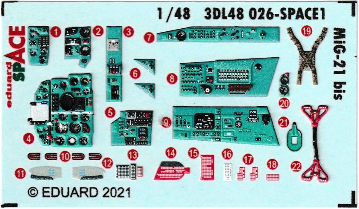 Eduard-3DL48026-MiG-21-Bis-SPACE-5 3D-Detailset für die MiG-21 Bis in 1:48 von Eduard # 3DL48026