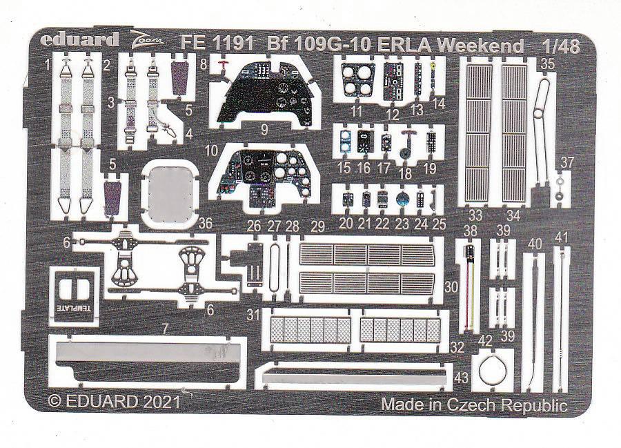 Eduard-FE-1191-Bf-109-G-10-Erla-WEEKEND-ZOOM-2 Ätzteile für die Bf 109 G-10 in 1:48 von Eduard # FE 1191