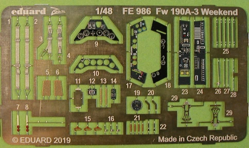 Eduard-FE-986-FW-190-A-3-ZOOM-2 ZOOM-Ätzteile für die FW 190 A-3 von Eduard in 1:48 # FE 986