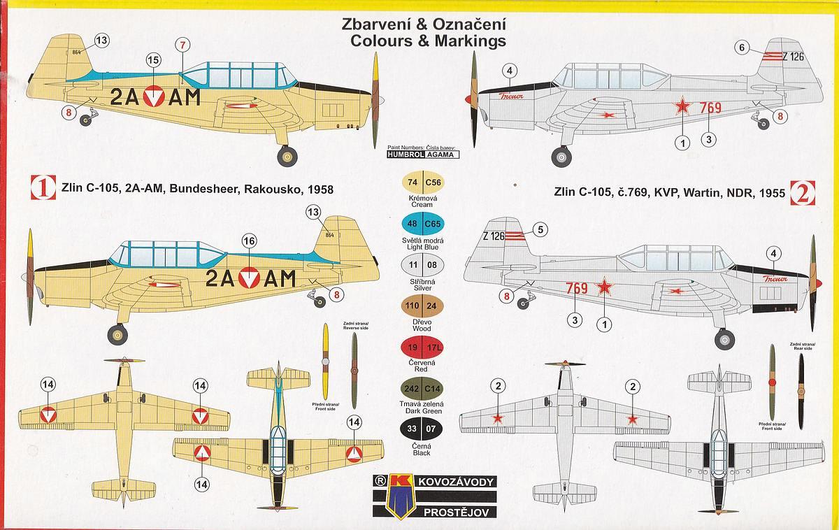 Kovozavody-KPM-0022-Zlin-C-105-Trener2-2 Zlin C-105 (Trenér 2) in 1:72 von KP Models #KPM 0022