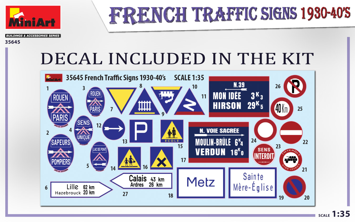 MIniArt-35645-FRench-TRaffic-signs-2 French Traffic Signs in 1:35 von MiniArt # 35645