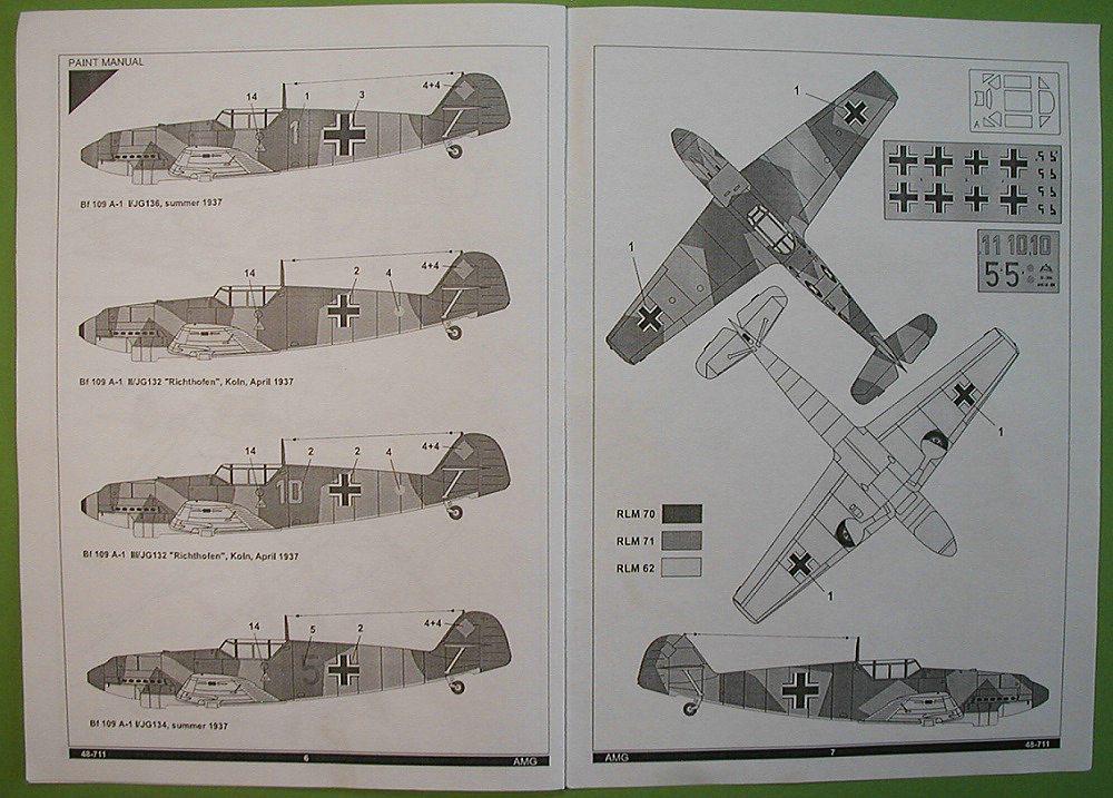 AMG-48711-Messerschmitt-Bf-109-A-1-5 Messerschmitt Bf 109 A-1 in 1:48 von AMG # 48711