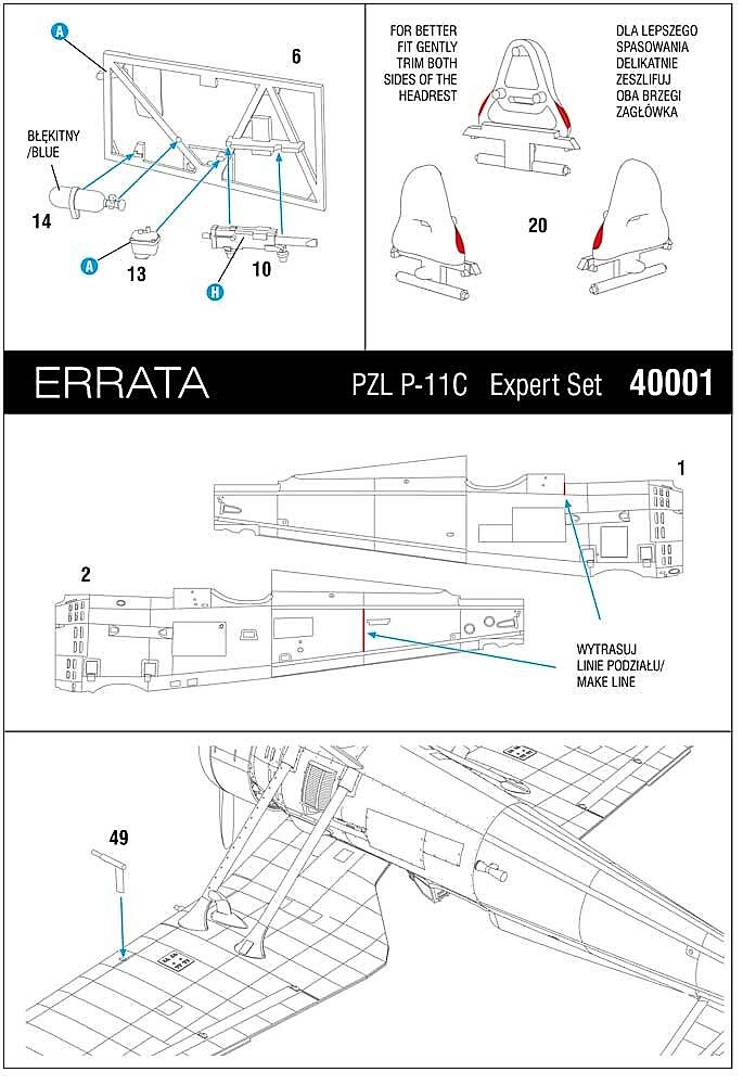 ArmaHobby-40001-Errata PZL P.11 in 1:48 von Arma Hobby # 4001