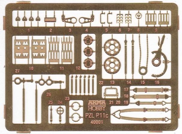 ArmaHobby-40001-PZL-P.11-Aetzteile PZL P.11 in 1:48 von Arma Hobby # 4001