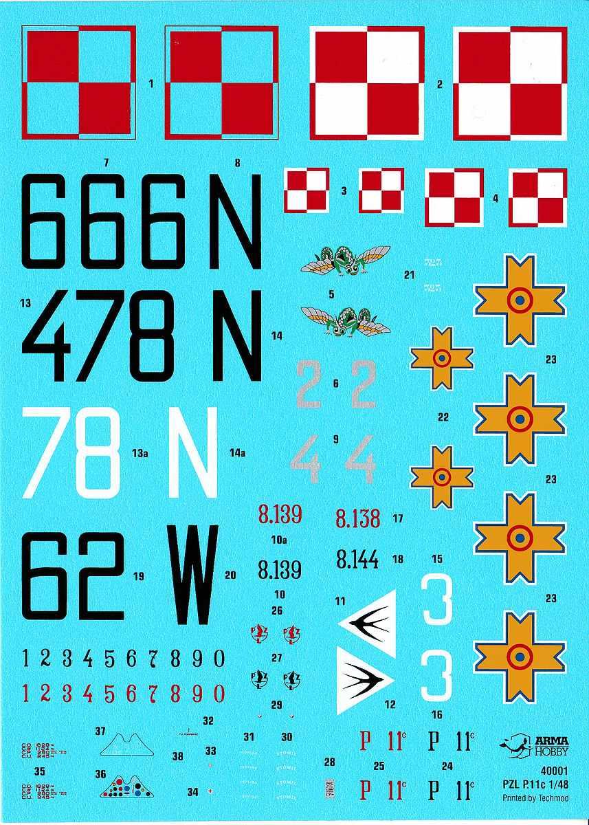 ArmaHobby-40001-PZL-P.11-Decals PZL P.11 in 1:48 von Arma Hobby # 4001