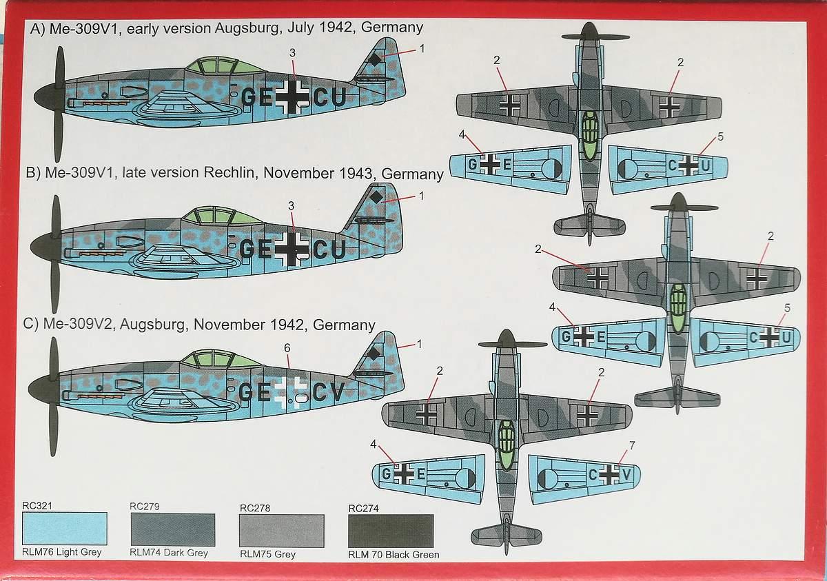 Brengun-BRP-144015-Me-309-V1-und-V-2-2 Messerschmitt Me 309 V1 / V2 in 1:144 von Brengun #144015