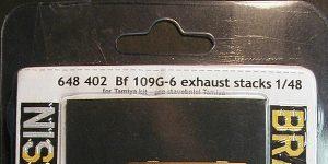 Exhaust stacks für Bf 109 G-6 von Tamiya in 1:48 Eduard # 648402