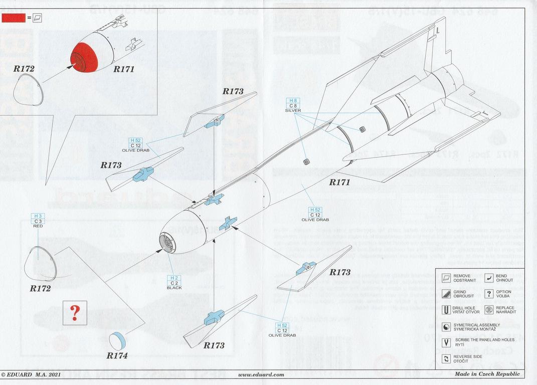 Eduard-648624-GBU-15-10 Gleitbombe GBU-15(V)1/B von Eduard in 1:48 #648624