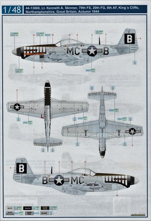 "Eduard-D48085-Decals-P-51-8th-AF-3 Eduard Decals für P-51 D-5 ""8th AF"" in 1.48 #D48085"