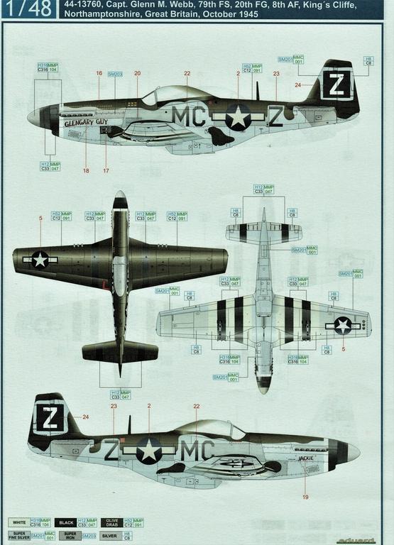 "Eduard-D48085-Decals-P-51-8th-AF-4 Eduard Decals für P-51 D-5 ""8th AF"" in 1.48 #D48085"