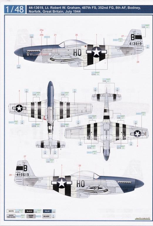 "Eduard-D48085-Decals-P-51-8th-AF-5 Eduard Decals für P-51 D-5 ""8th AF"" in 1.48 #D48085"