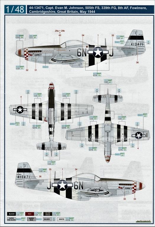 "Eduard-D48085-Decals-P-51-8th-AF-6 Eduard Decals für P-51 D-5 ""8th AF"" in 1.48 #D48085"