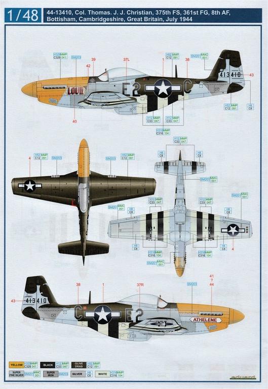 "Eduard-D48085-Decals-P-51-8th-AF-7 Eduard Decals für P-51 D-5 ""8th AF"" in 1.48 #D48085"