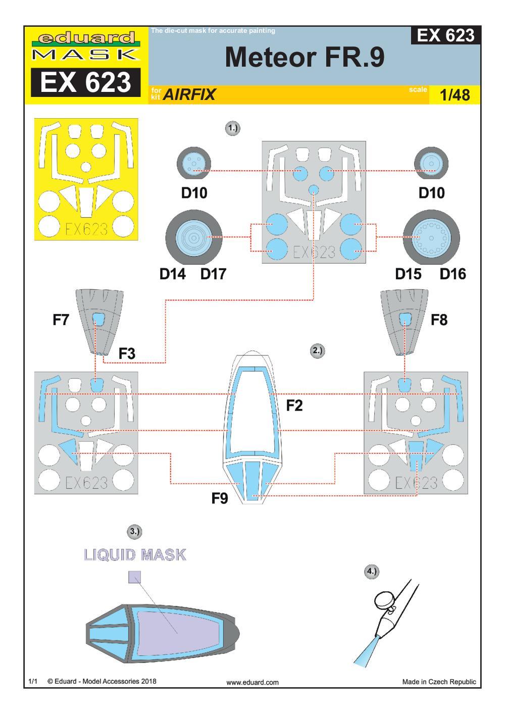 Eduard-EX-623-Meteor-FR.9-Masken-2 Eduard-Zubehör für die Meteor FR.9 von Airfix in 1:48 # FE 938 und EX 623