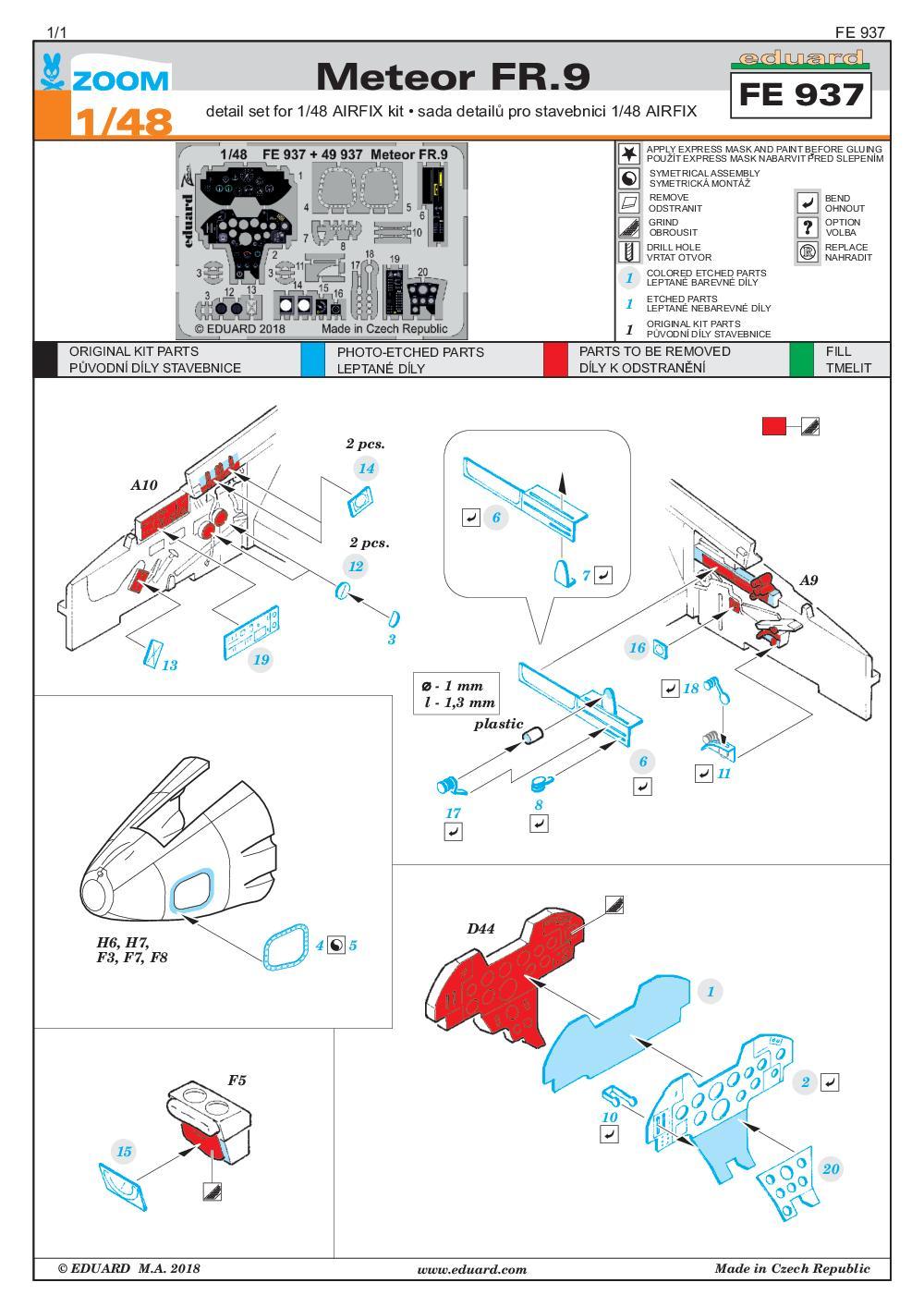 Eduard-FE-937-Meteor-FR.9-ZOOM-2 Eduard-Zubehör für die Meteor FR.9 von Airfix in 1:48 #49937 und FE 937