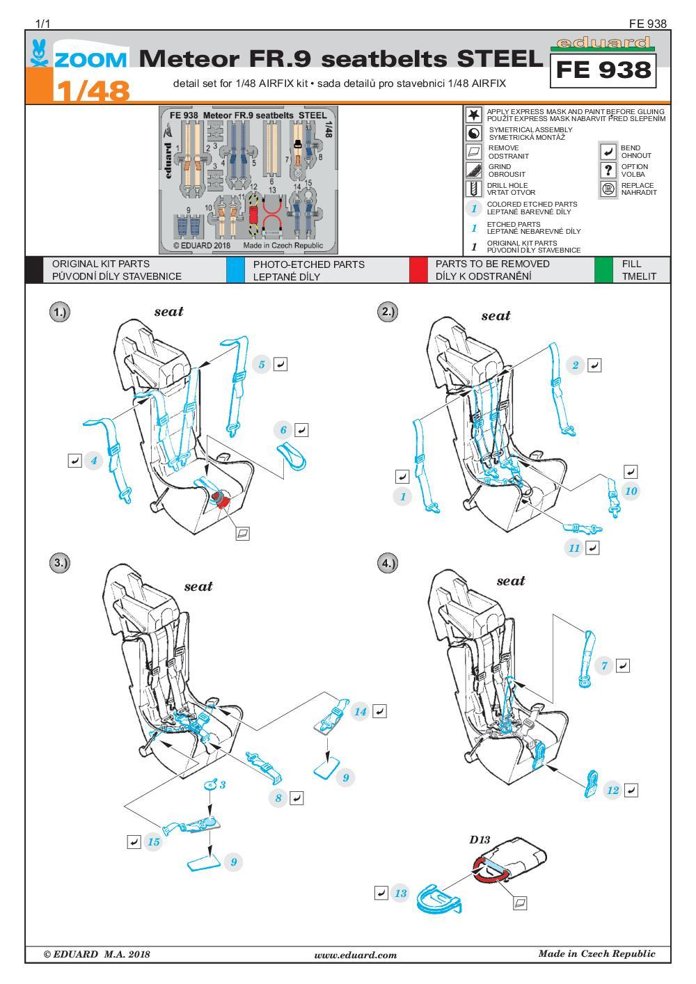 Eduard-FE-938-MEteor-FR.9-Seatbelts-STEEL Eduard-Zubehör für die Meteor FR.9 von Airfix in 1:48 # FE 938 und EX 623