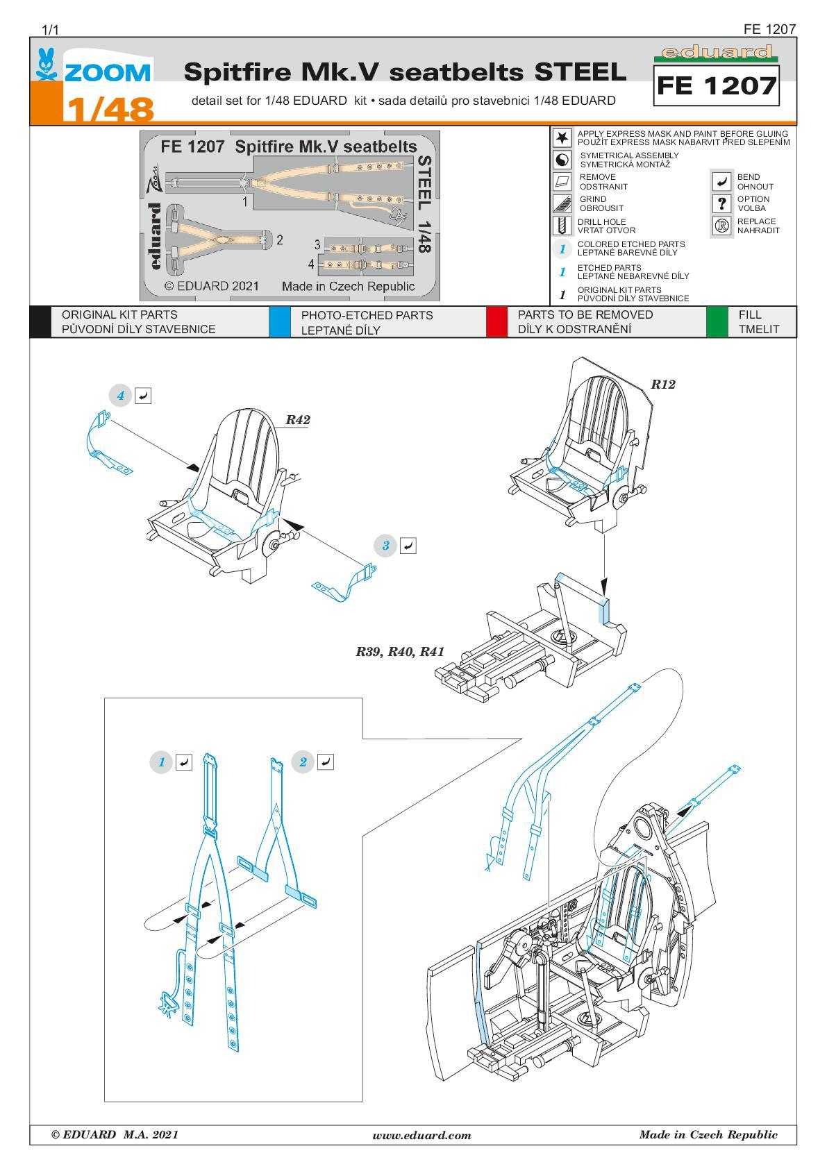 Eduard-FE1207-Spitfire-MK.V-Gurte-001 Seatbelts STEEL und TFace-Masken für die Spitfire Mk. V in 1:48 von Eduard #