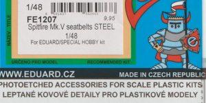 Seatbelts STEEL und TFace-Masken für die Spitfire Mk. V in 1:48 von Eduard #