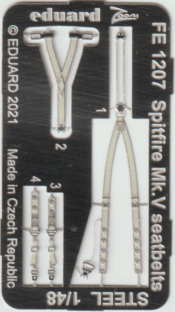Eduard-FE1207-Spitfire-MK.V-Gurte-Bild-2 Seatbelts STEEL und TFace-Masken für die Spitfire Mk. V in 1:48 von Eduard #