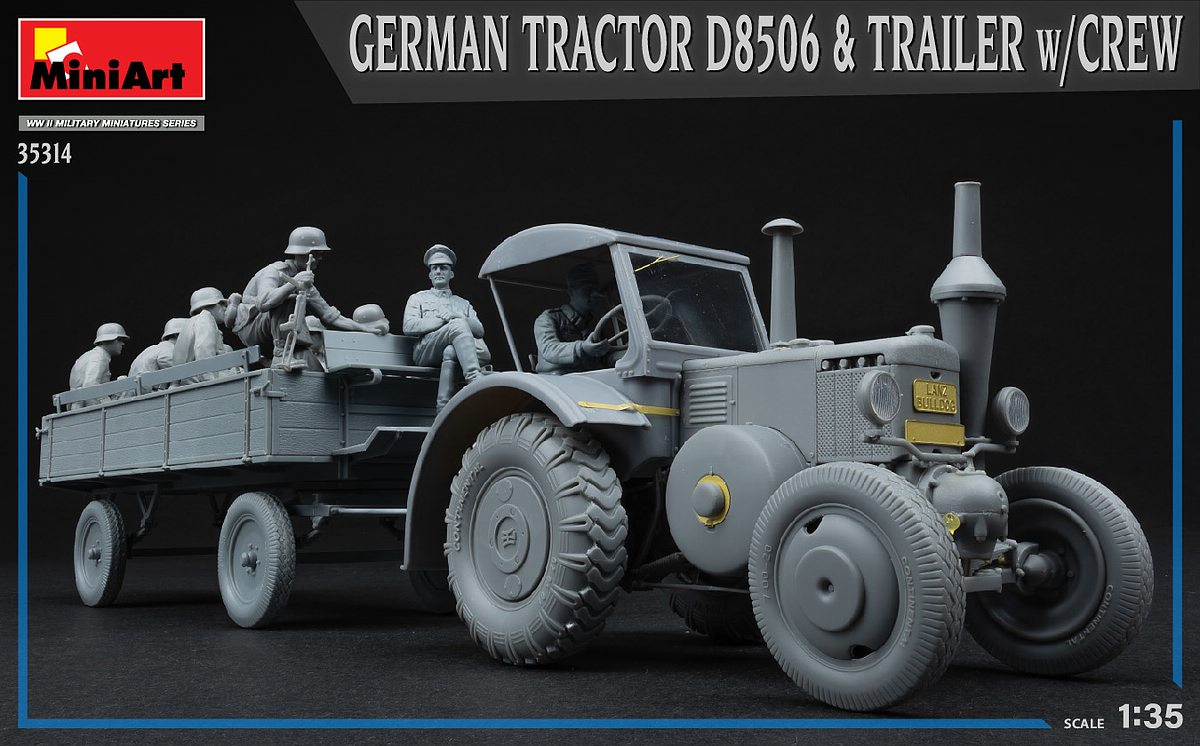 MIniArt-35314-German-Tractor-D-8506-with-trailer_art-10 German Tractor D 8506 with trailer & crew in 1:35