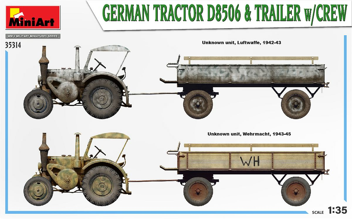 MIniArt-35314-German-Tractor-D-8506-with-trailer_art-19 German Tractor D 8506 with trailer & crew in 1:35