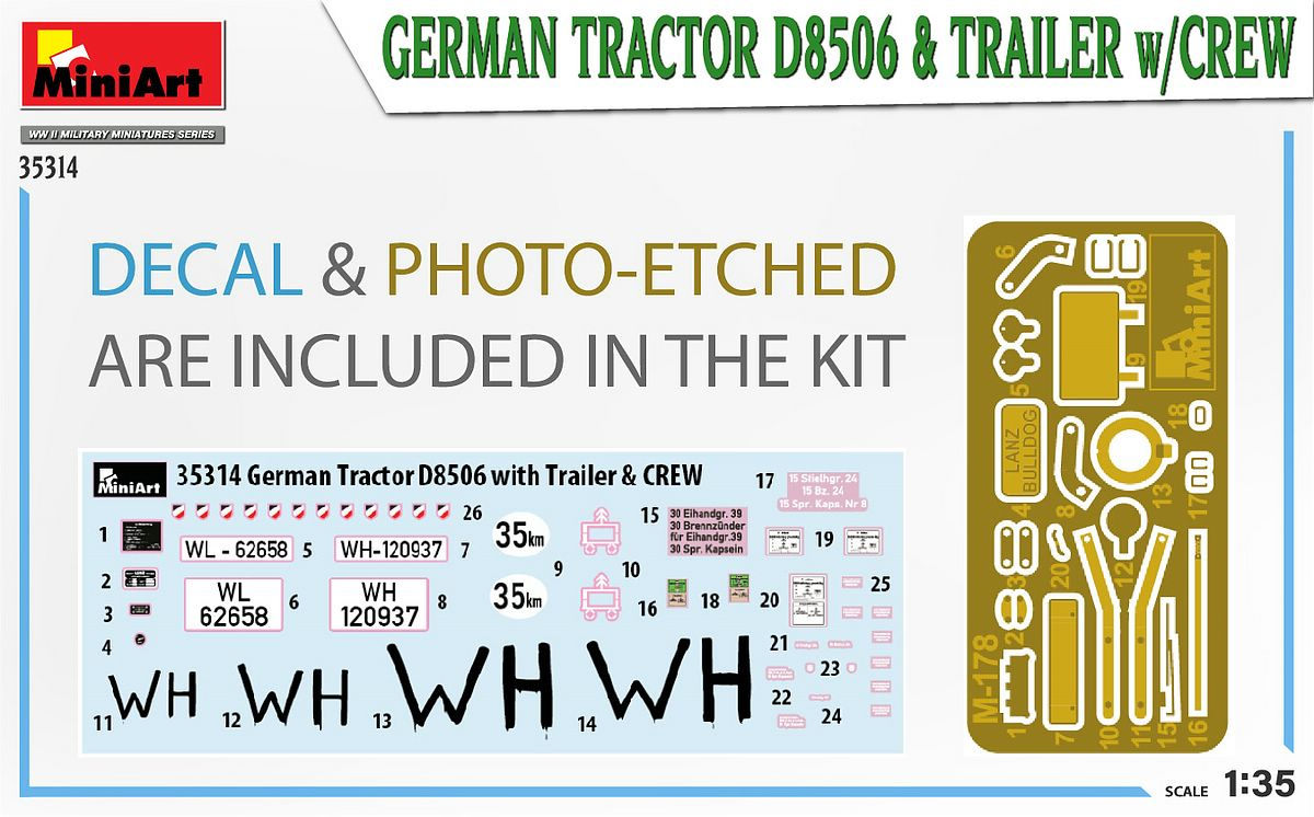 MIniArt-35314-German-Tractor-D-8506-with-trailer_art-3 German Tractor D 8506 with trailer & crew in 1:35
