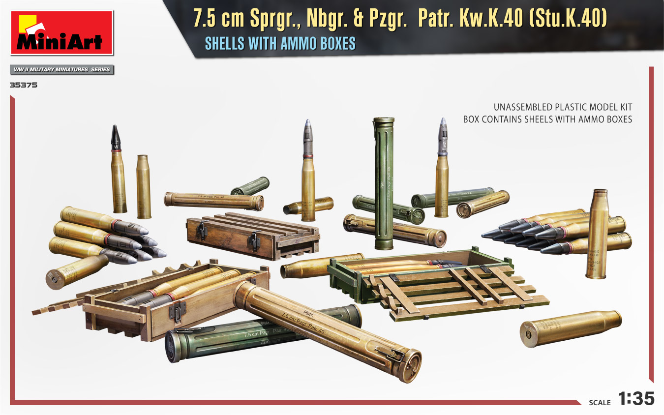MIniArt-35375-75cm-Granaten-3 7,5cm Sprenggranaten etc. in 1:35 von MiniArt #35375