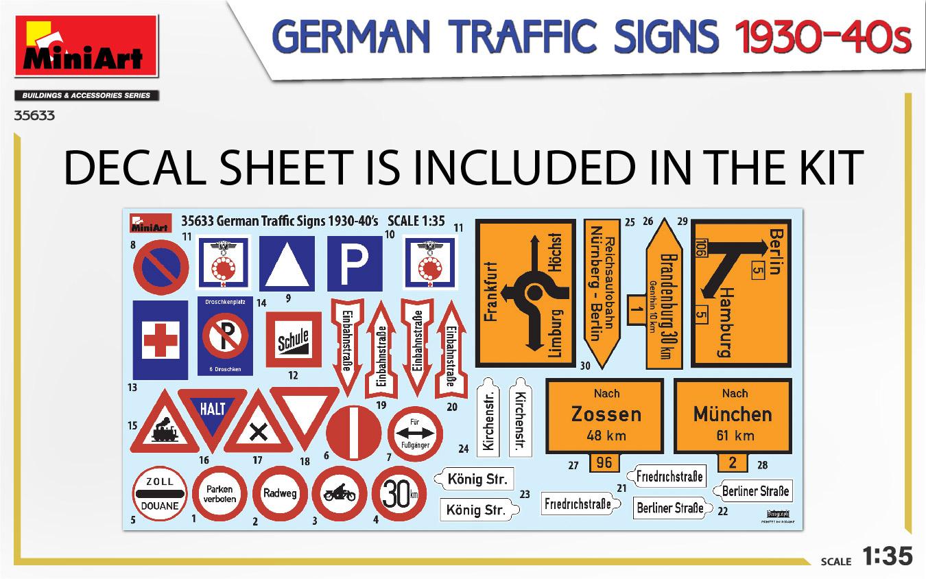 MIniArt-35633-German-Traffic-signs-3 German Traffic Signs 1930-40s in 1:35 von MiniArt #35633