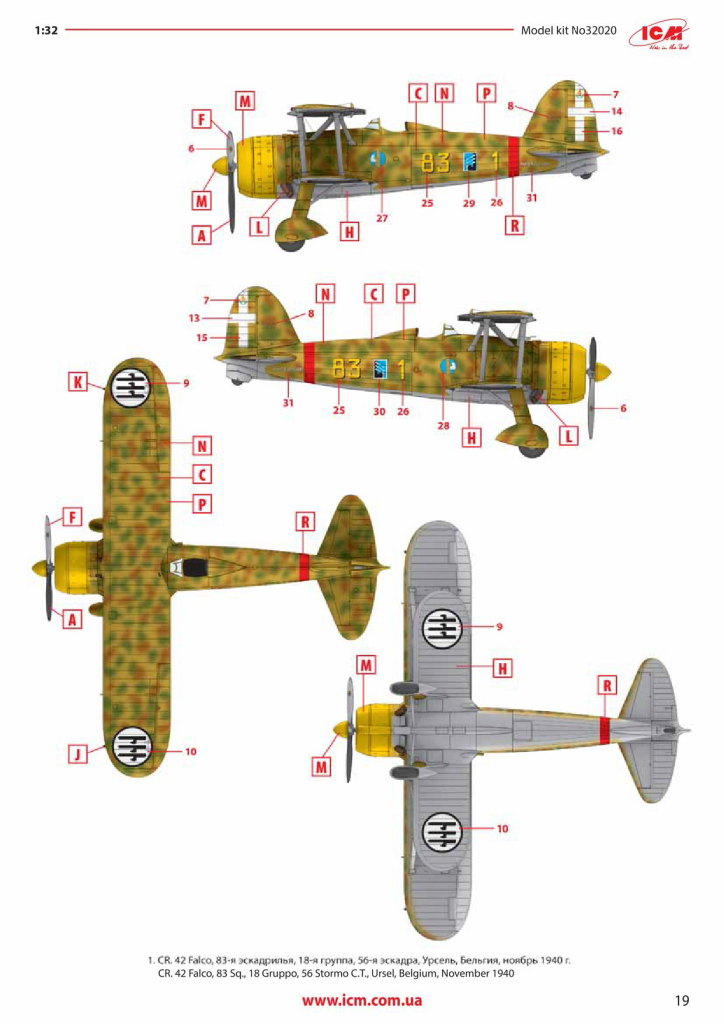 Review_ICM_CR.42_w.-Pilots_26 Fiat CR.42 Falco with Italian Pilots - ICM 1/32