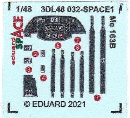 Eduard-3DL48032-Me-163B-SPACE-2 SPACE-Set für die Me 163B von Gaspatch # 3DL48032