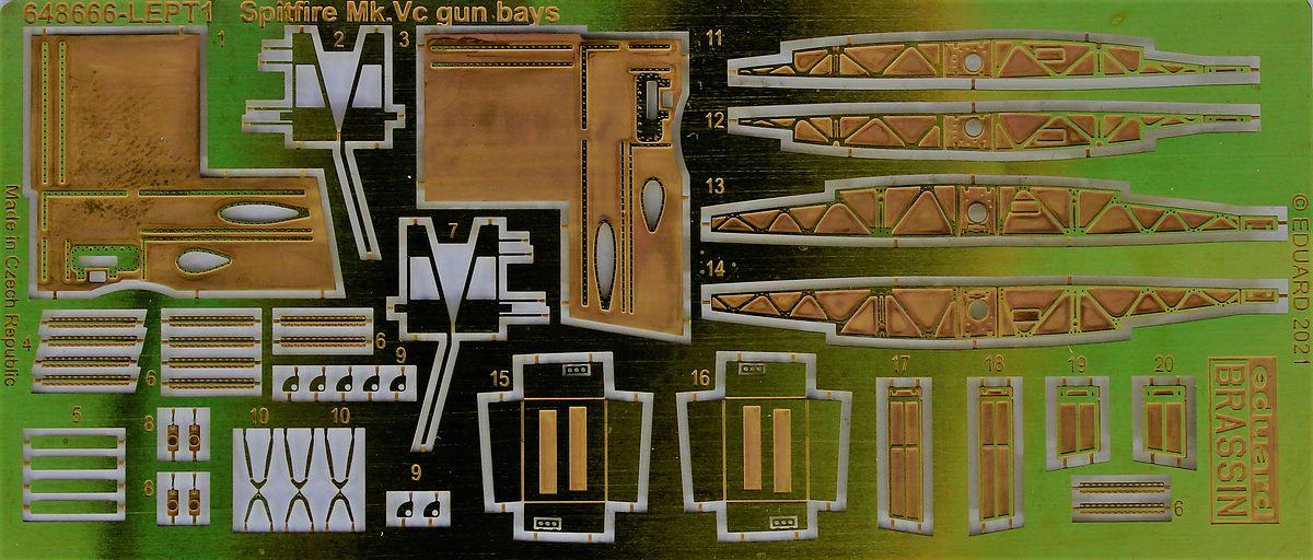 Eduard-648666-Spitfire-Mk.Vc-Gun-bays-14 Gun Bays und Wheels für die Spitfire Mk. V von Eduard # 648664 / 648666