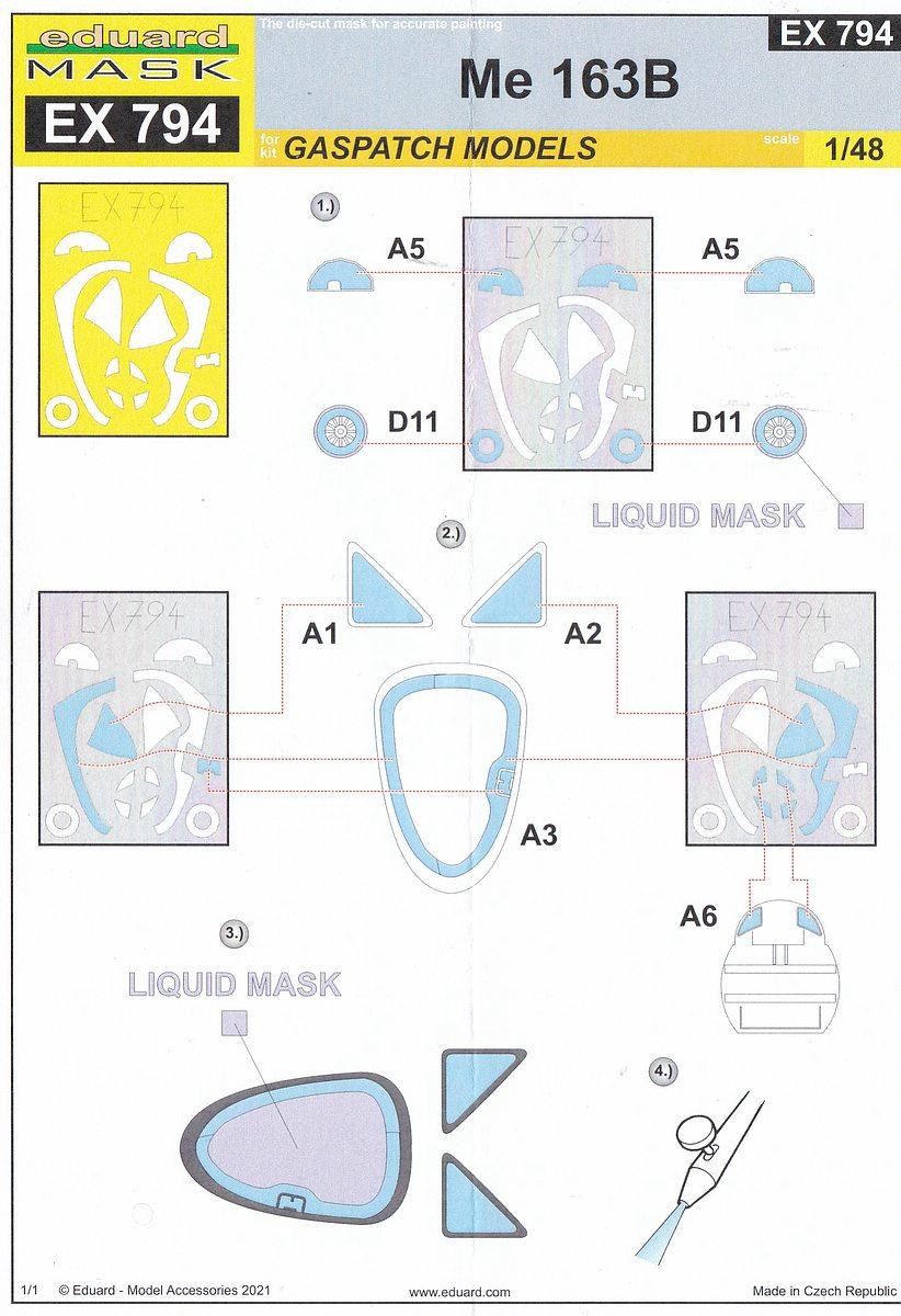 Eduard-EX-794-Me-163B-Masken-4 Eduard Maskensets für die Me 163B von Gaspatch # EX 794 und 795