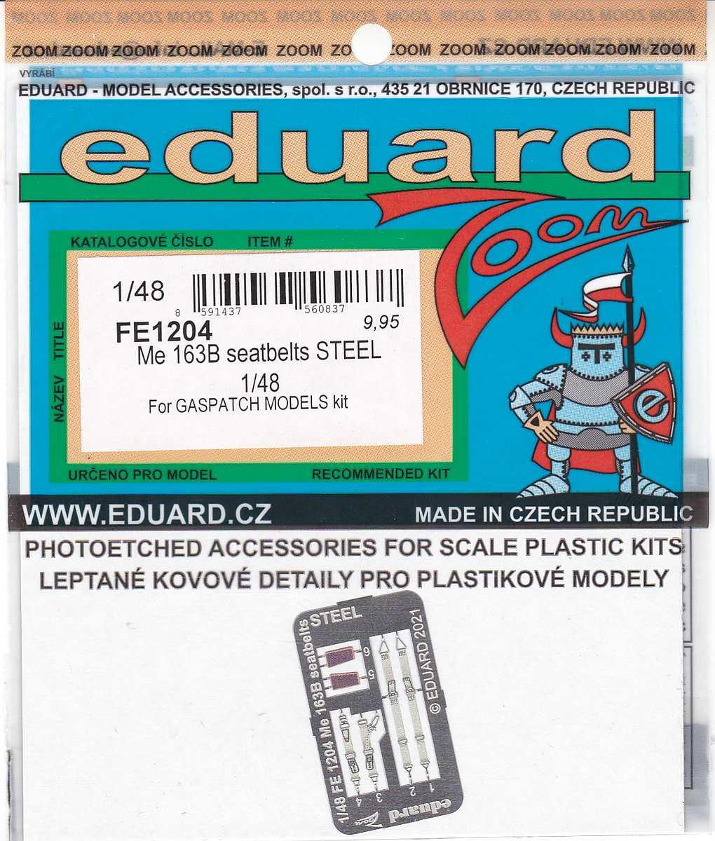 Eduard-FE-1204-Me-163B-Seatbelts-STEEL-1 Eduard Maskensets für die Me 163B von Gaspatch # EX 794 und 795