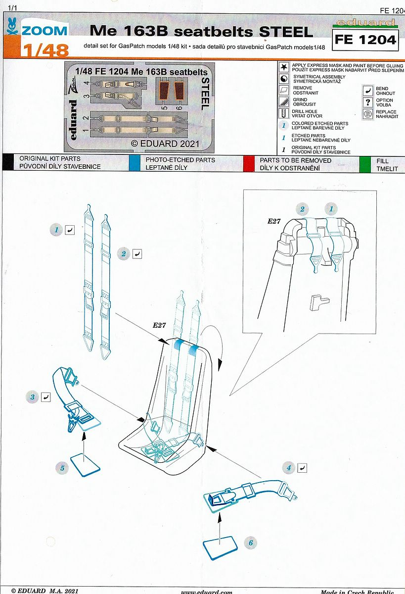 Eduard-FE-1204-Me-163B-Seatbelts-STEEL-3 Eduard Maskensets für die Me 163B von Gaspatch # EX 794 und 795
